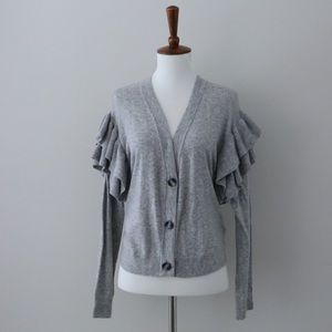 NWT Gray Cardigan with Ruffled Sleeves